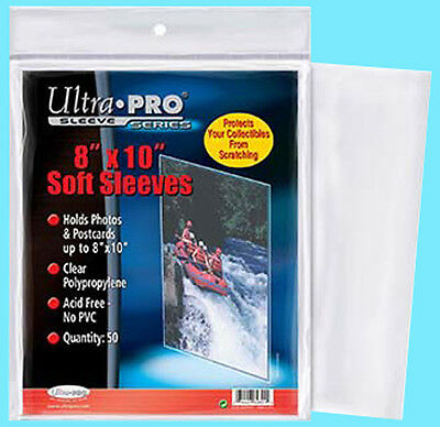 """50 ULTRA PRO 8""""x10"""" PREMIUM SOFT SLEEVES Fits Topload Photo Clear Poly No PVC"""