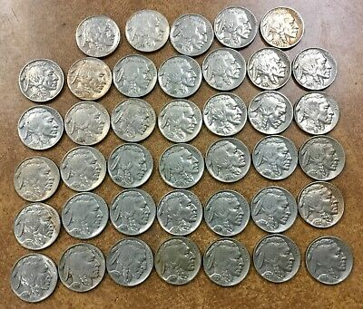 40 BUFFALO Nickels 1935-37 P D S  VF-AU most w/ full horns