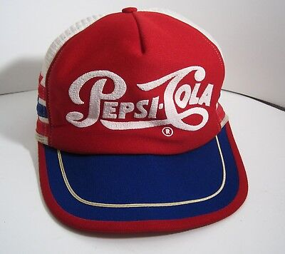 Vintage Pepsi Cola Soda Hat Cap Snapback Mesh Red White Blue One Size Fits All
