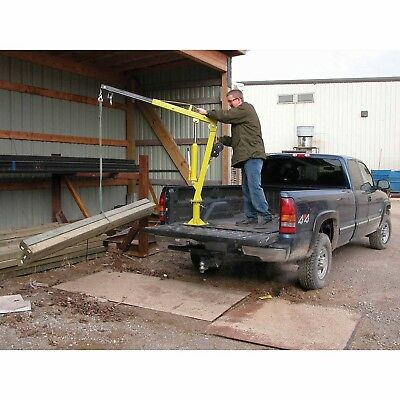 Hand Crank Steel Crane - 1,000 lbs Cap - Truck or Trailer Bed Mounted - 360 Deg