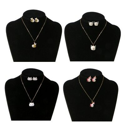 Animal Children Jewelry Unicorn Cat Dog Bees Necklace Stud Earring Set For Kids