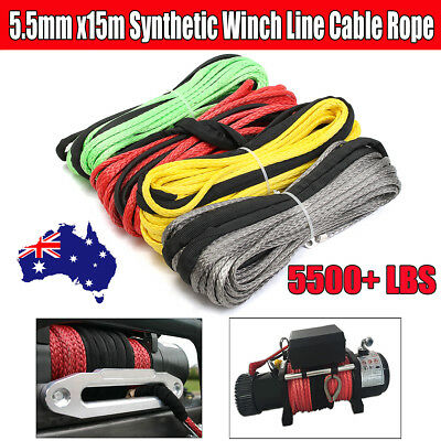 AU 5500+ LBs Synthetic Winch Line Cable Rope 4WD AVT Boat Recovery 15mx5.5mm