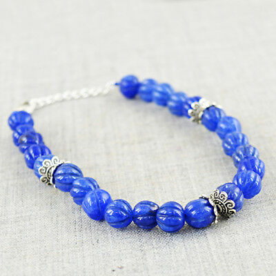 Fine Jewelry Unheated 57.00 Cts Earth Mined Blue Aquamarine Round Beads Bracelet Gemstone Best Offer