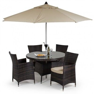 Seattle Rattan Garden Furniture Round 4 Seater Brown Dining Table & Chair Set