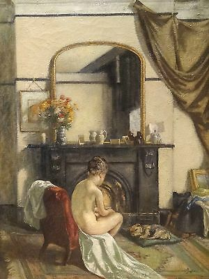 Fine Large Early 20th Century English Nude Girl & Dog Portrait Antique Painting