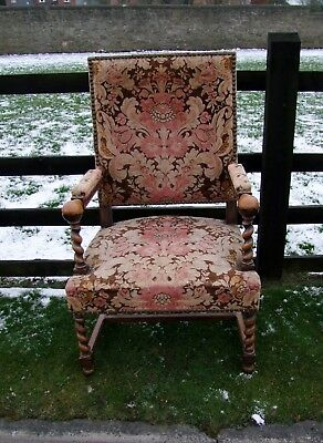 LATE 19th CENTURY FRENCH CARVED OAK BARLEY TWIST ARMCHAIR - (CON182).