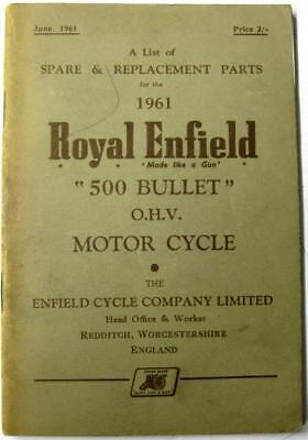 ROYAL ENFIELD 500 Bullet OHV 1961 Original Owners Motorcycle Parts List