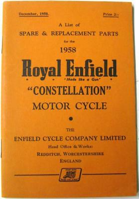 ROYAL ENFIELD Constellation 1958 Original Owners Motorcycle Parts List