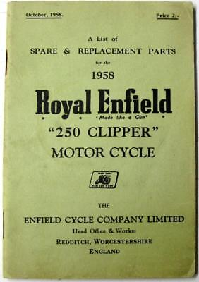 ROYAL ENFIELD 250 Clipper 1958 Original Owners Motorcycle Parts List