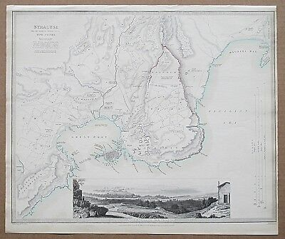 Sduk Ancient Syracuse Sicily Map Town Plan 1839 Published 1844 Genuine Antique