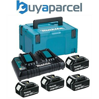 Makita BL1860 18v 4 x 6.0ah Lithium Batteries DC18RD Dual Port Charger + Makpac