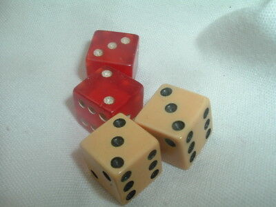 2 Pair Tiny Vintage Casino Dice Red and White