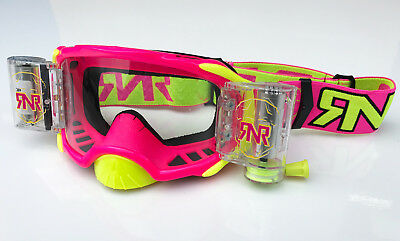 Rip N Roll Rnr Platinum Motocross Mx Enduro Wvs Roll-Off Goggle 48Mm - Neon Pink
