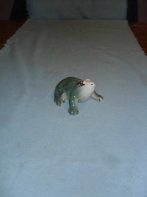 """Vintage Small Ceramic Pottery Frog 2"""" Tall X 4"""" Long X 3"""" Wide Unsigned Flawed"""