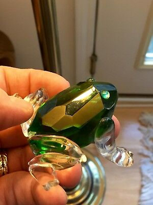 Crystal Frog Green Swarovski Clear Small