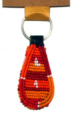 "South African Beaded Teardrop Keychain 2"" Traditional Colors FREE SHIPPING S03"