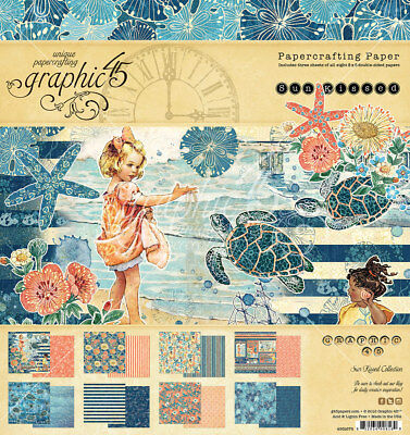 Graphic45 SUN KISSED 8x8 PAPER PAD scrapbooking (24) sheets VINTAGE BEACH