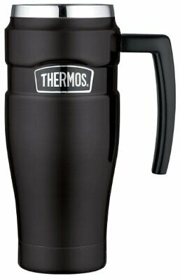Thermos Stainless King 16 Ounce Travel Mug with Handle, Matte Black