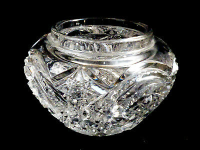 VTG  American Brilliant Crystal Cut Clear Crystal Bowl or vanity box Pinwheel