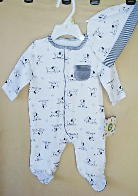 LITTLE ME 100% Cotton L/S WHITE PRINT PUPPY TOILE FOOTIE w/Matching Hat  NWT