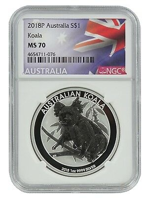 2018 P Australia 1oz Silver Koala NGC MS70 - Flag Label