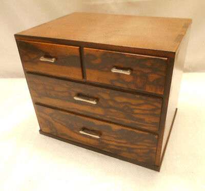 Antique Persimmon, Keyaki and Kiri Wood Sewing Box Japanese Drawers C1920s #762