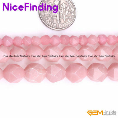 Natural AAA Grade Faceted Pink Opal Gemstone Beads For Jewelry Making Strand 15""