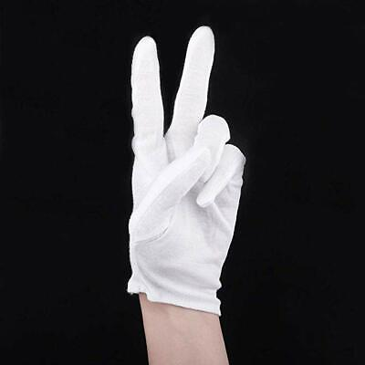 6 Pairs White Cotton Lisle Coin Jewelry Silver Inspection Gloves - Size Medium