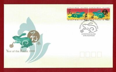 Christmas Island Chinese Lunar Year 1999 Year of the Rabbit FDC or fu