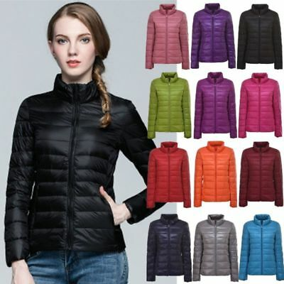UK Ladies Winter Quilted Padded Puffer Bubble Ultralight Down Womens Jacket Coat