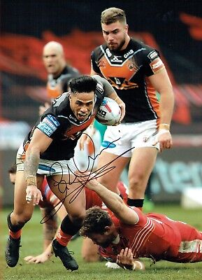 Ben ROBERTS CASTLEFORD Tigers Rugby Signed Autograph 16x12 Photo 2 AFTAL COA