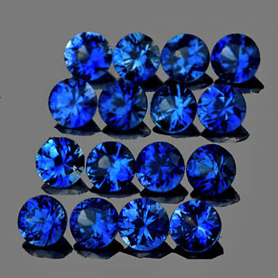 16PCS 2.5mm Round Intense Royal Blue Sapphire Natural Gemstone Blue Corundum