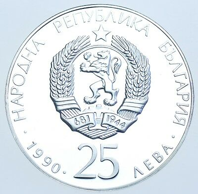 BULGARIA, 25 LEVA, 1990 SILVER PROOF COIN IN A CAPSULE aFDC