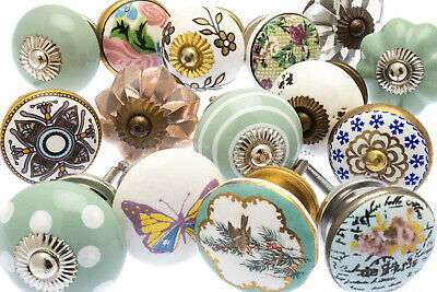 15 x Mixed Shabby Chic Ceramic Cupboard Handles Pulls Cabinet Knobs (MG-266)