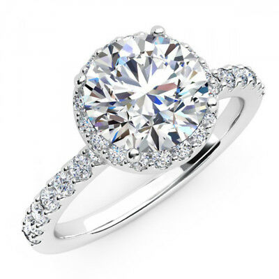 4 ct Diamond Round Cut 14k White Gold Solitaire with Accent Engagement Ring