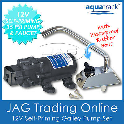 12V AQUATRACK SELF-PRIMING ELECTRIC GALLEY WATER PUMP & TAP/FAUCET- Boat/Camper