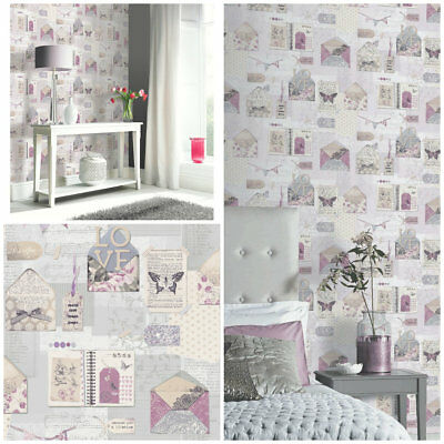 PS I LOVE YOU Wallpaper  -  Pink / Grey - Shabby Chic Collage  - ARTHOUSE 671201