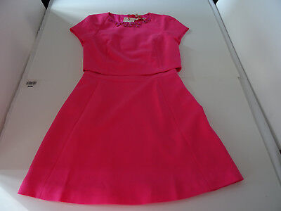 "Ted Baker ""foppar"" Pink Double Layer Emb Dress Size 0"