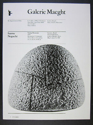 1981 Isamu Noguchi Young Mountain sculpture Galerie Maeght vintage print Ad