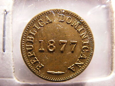 Dominican 1877 Brass 1 Centavo, Uncirculated, KM#3