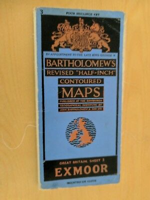 vintage CLOTH BARTHOLOMEWS MAP EXMOOR SHEET 3 HALF INCH 4 shillings