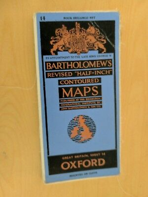 vintage CLOTH BARTHOLOMEWS MAP OXFORD SHEET 7 HALF INCH 4 shillings
