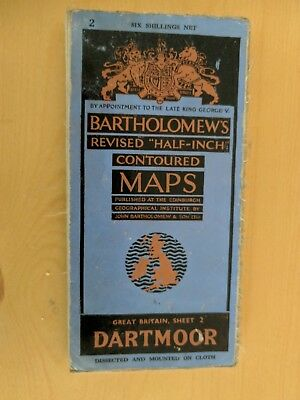 vintage CLOTH BARTHOLOMEWS MAP DARTMOOR SHEET 2 HALF INCH six shillings