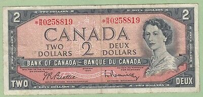 1954 Bank of Canada 2 Dollar Note - Beattie/Rasminsky - *R/R0258819 - VF