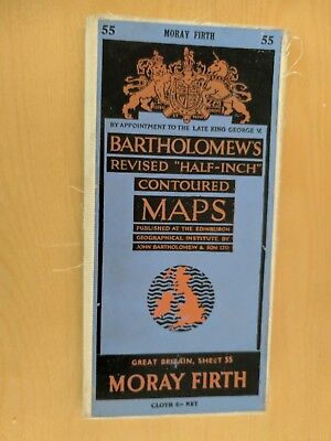 vintage CLOTH BARTHOLOMEWS MAP MORAY FIRTH SHEET 55 HALF INCH 5 shillings