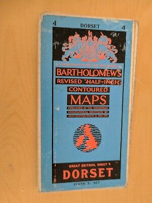 vintage CLOTH BARTHOLOMEWS MAP DORSET SHEET 4 HALF INCH 5 shillings
