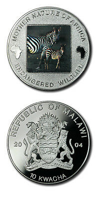 Malawi Mother Nature of Africa Zebra & Foal 10 Kwacha 2004 Proof Colored Crown K