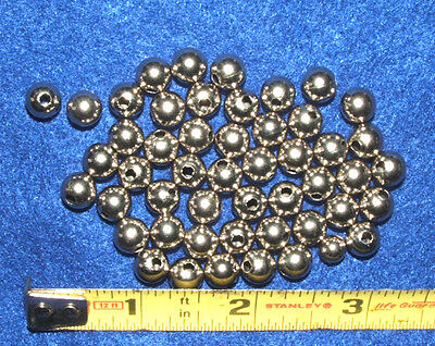 """50 Shiny Silver colored Nickle Beads 5/16"""" dia Round Hollow  (approx 6mm)"""