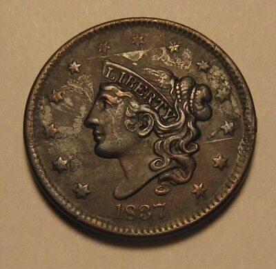 1837 Coronet Head Large Cent Penny - Extra Fine to AU Condition - 186SA