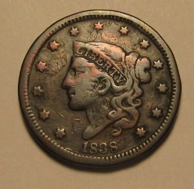 1838 Coronet Head Large Cent Penny - Very Fine Condition - 187SA